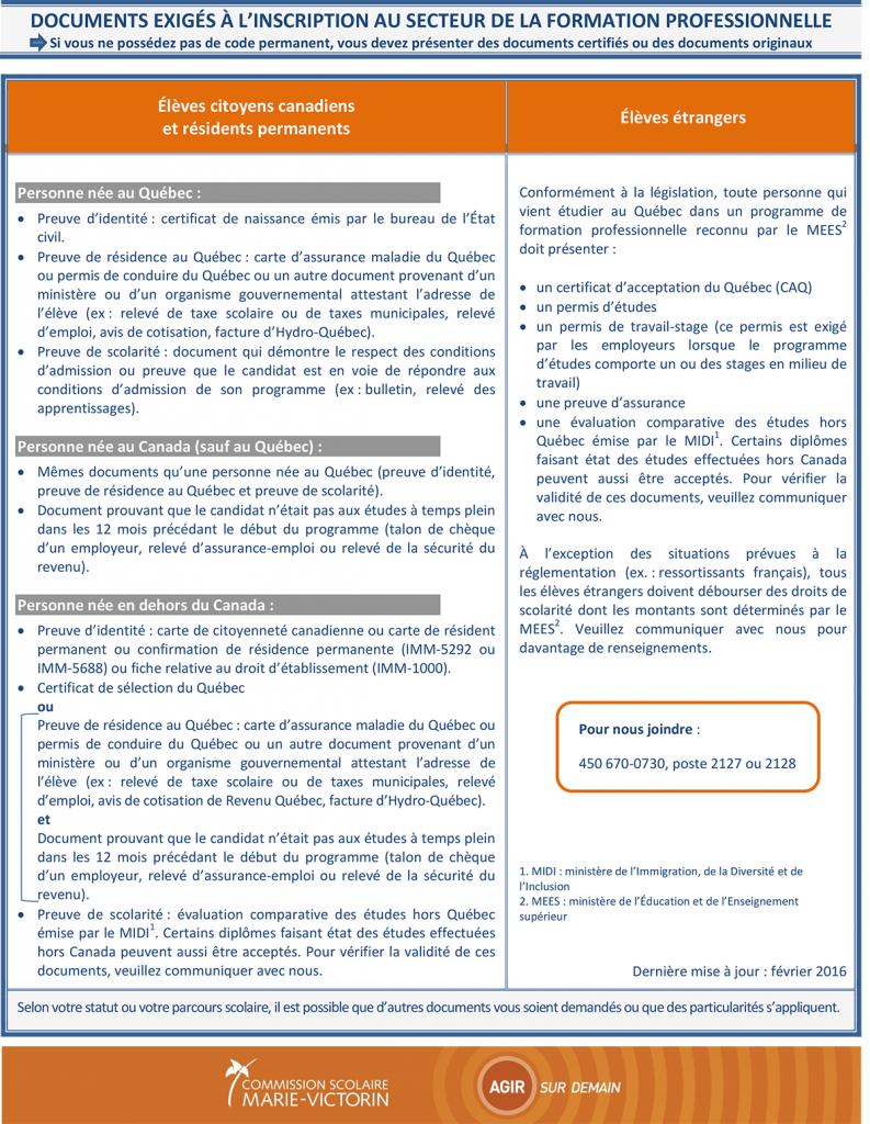 VF- FÉVRIER 2016- Documents-exigés inscription secteur FP