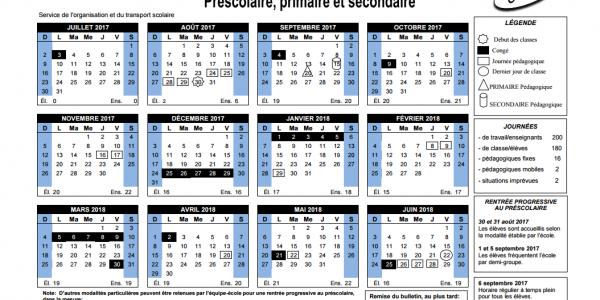 calendrier scolaire d'iberville