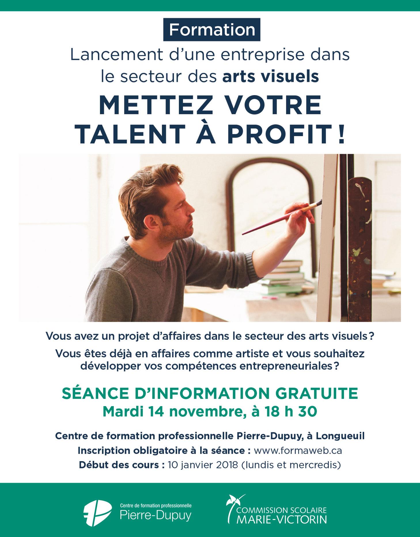 Lancement d'une entreprise dans le secteur des arts visuels